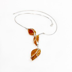 Collier d'ambre couleur miel et argent 925/1000