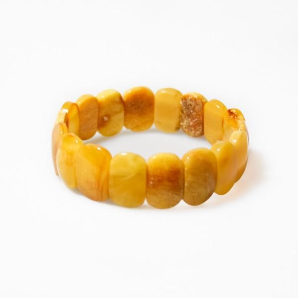 Bracelet d'ambre opaque jaune ocre