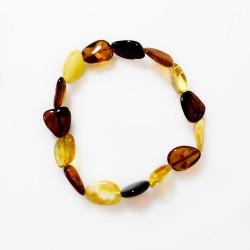 Amber bracelet multicolored natural shape