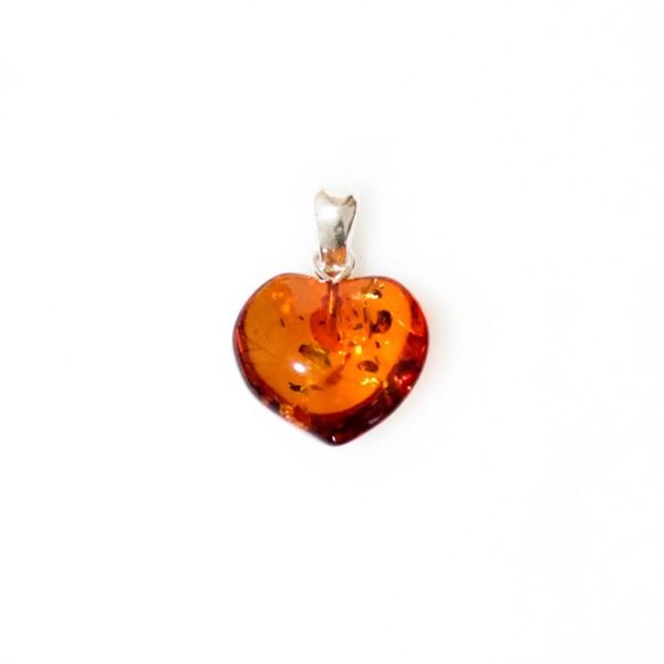 Coeur d'ambre naturel couleur cognac avec éclat