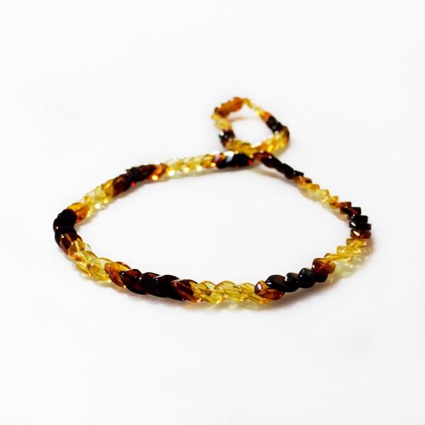 Collier en ambre arc-en-ciel adulte pierre en forme d'écaillel