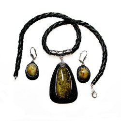 Set of green amber and black leather
