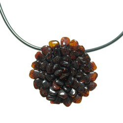 Halskette / Brosche Blume natürlichen Bernstein Cognac