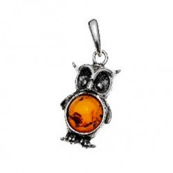 Silver and amber pendant in the shape of an owl