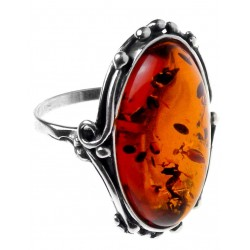 Big Ring in Silver and Honey Amber