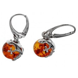 Silver earrings and Amber pearls surmounted by a salamander