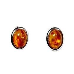 Silber-Ohrringe und Bernstein Cabochon oval