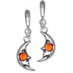 Half Moon Ohrring-Silber und Perlen Bernstein