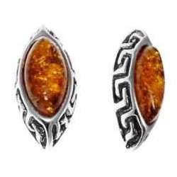 Earring Amber and Silver Greek style