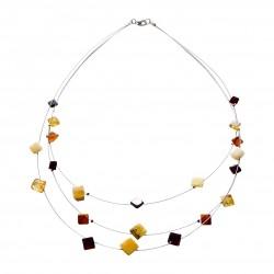 Halskette Mehrfarben Bernstein, quadratische Form.