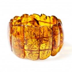 Big bracelet made from natural amber, cognac colour