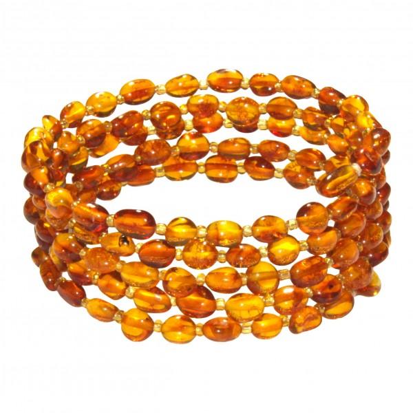 Bracelet Ambre miel 5 tours