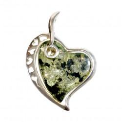 Colgante de ámbar 925/1000 plata y verde en forma de corazón