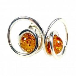 耳环琥珀银925/1000白兰地