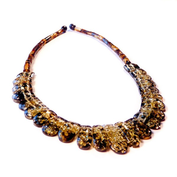 Cleopatra green amber necklace