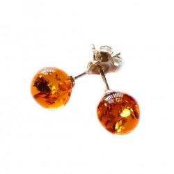 Boucle d'oreille ambre miel forme boule