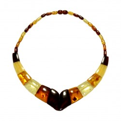 Collier en Ambre multicolore avec pierres d'ambre losange