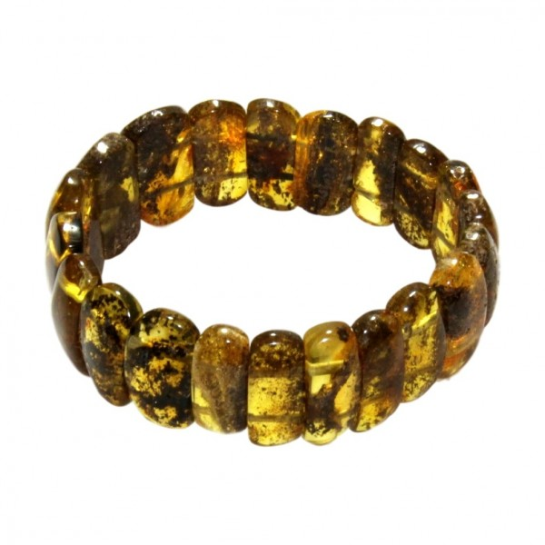Woman bracelet all amber green color
