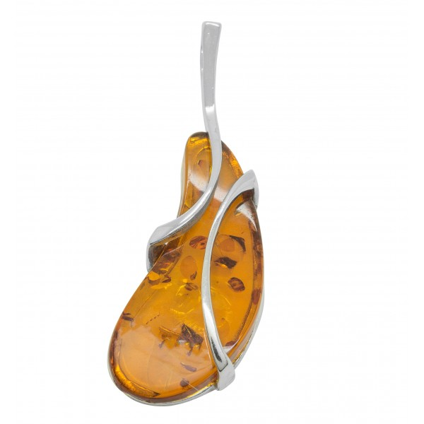 Pendentif en argent et ambre couleur cognac