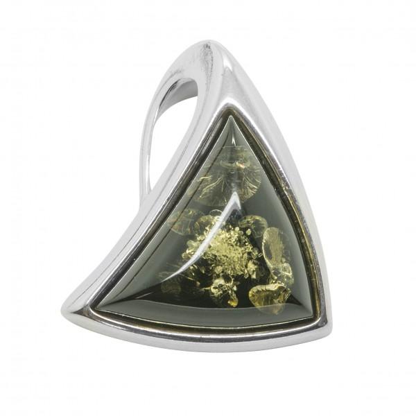 Pendentif en Ambre et Argent triangulaire