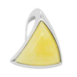 Amber and Triangular Silver Pendant