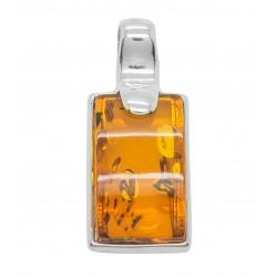 Anhänger Cognac Bernstein und Silber 925/1000 rechteckigen