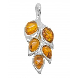Silver pendant and amber cognac leaf shape