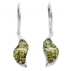 Green and silver amber earring - zigzag shape