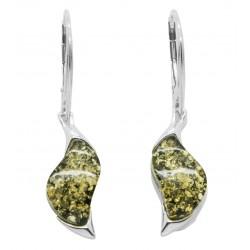 Orecchini Verde Ambra e Argento - la forma a zig-zag