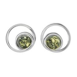 Pendiente Verde Ámbar y Plata 925/1000
