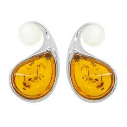 Boucle d'oreille Ambre Cognac et Perle de culture sur Argent