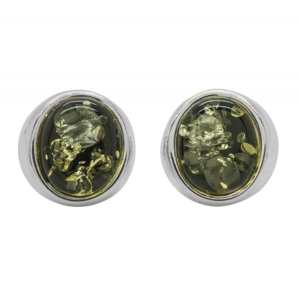 Boucle d'oreille Ambre naturel couleur vert et Argent 925/1000