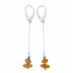Silver and amber color cognac earring