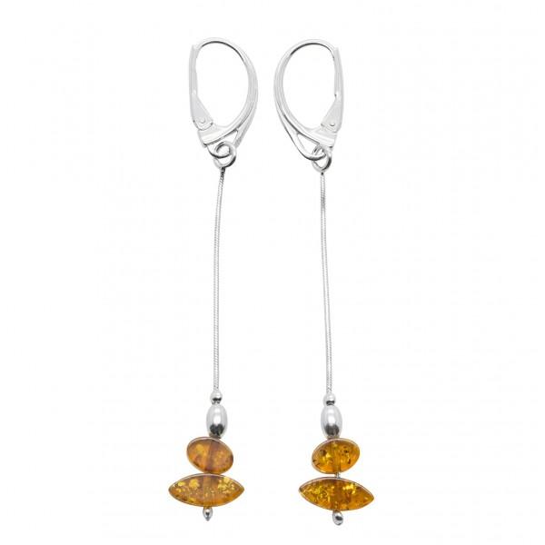 Boucle d'oreille Argent et ambre couleur cognac