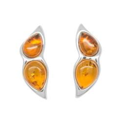 Boucle d'oreille Ambre couleur cognac et Argent 925/1000
