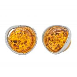 Boucle d'oreille Argent et Ambre naturel cognac - demi-sphère