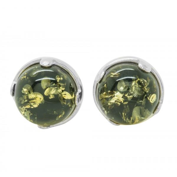 Boucle d'oreille Argent et Ambre naturel couleur vert