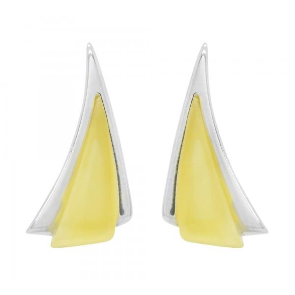 Boucle d'oreille en Ambre blanc et Argent forme triangle