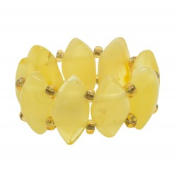 Ring all white amber shaped rhombus