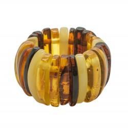 Multicolored amber ring half moon shape