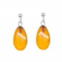 Amber earrings shape drop of water