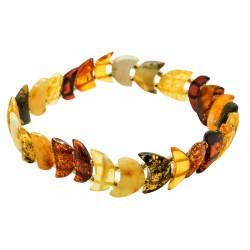 Half moon natural multicolored amber bracelet