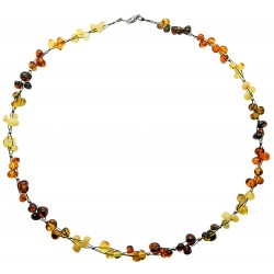 Necklace with multicolored amber pearl trio