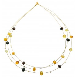 Necklace with multicolour amber stone