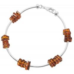 Armband Bernstein und Silber Cognac 925/1000
