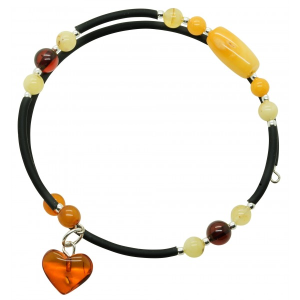 Bracelet Accordeon 2 tours en ambre multicouleur