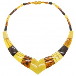 Multicolored amber necklace adult