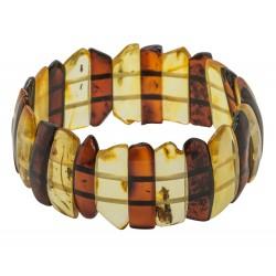 Natural amber bracelet bi-colored cognac and honey