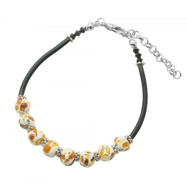 Bracelet d'ambre naturel petite boule mosaïque