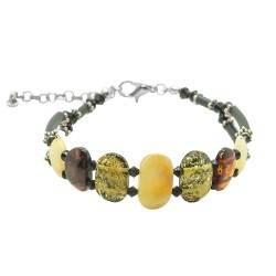 Multicolored adult amber bracelet